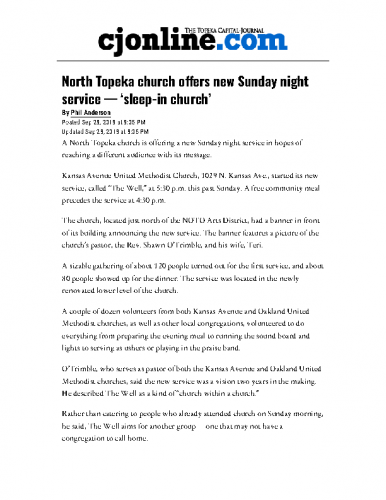NOTO church offers Sunday night service