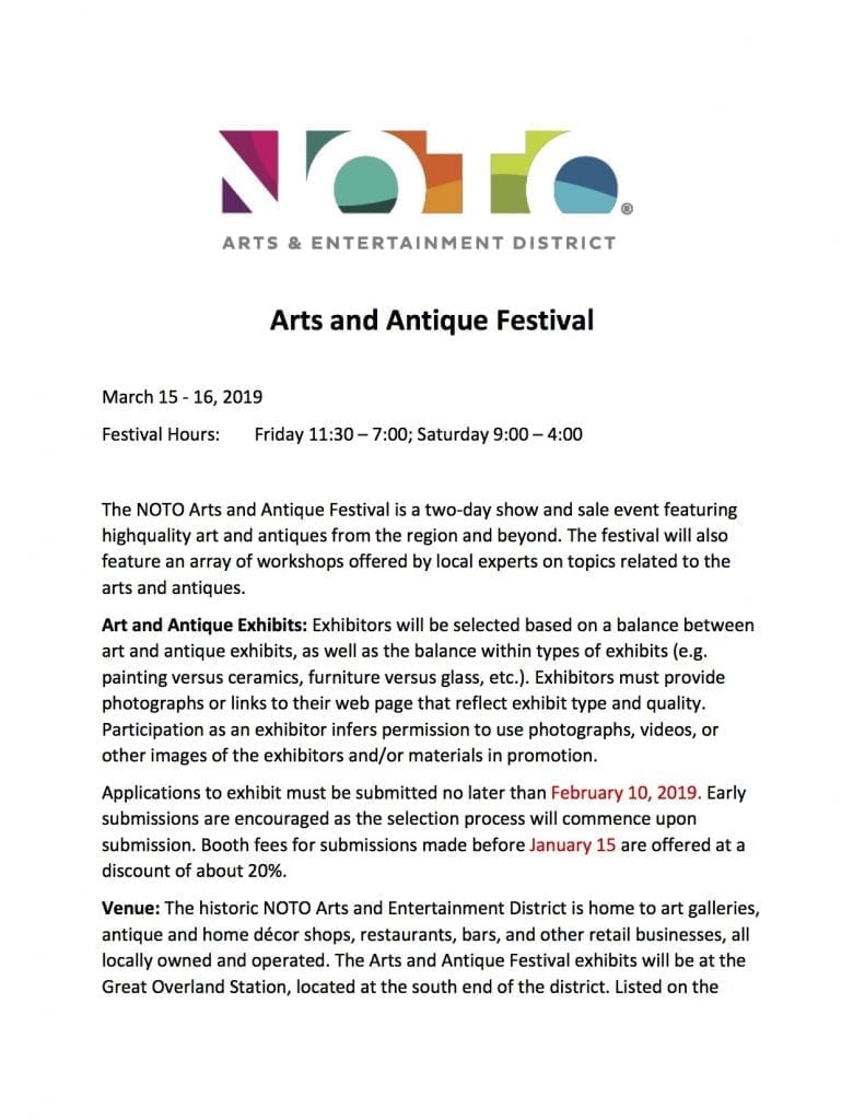 NOTO Arts and Antique Fair_Vendor Application image
