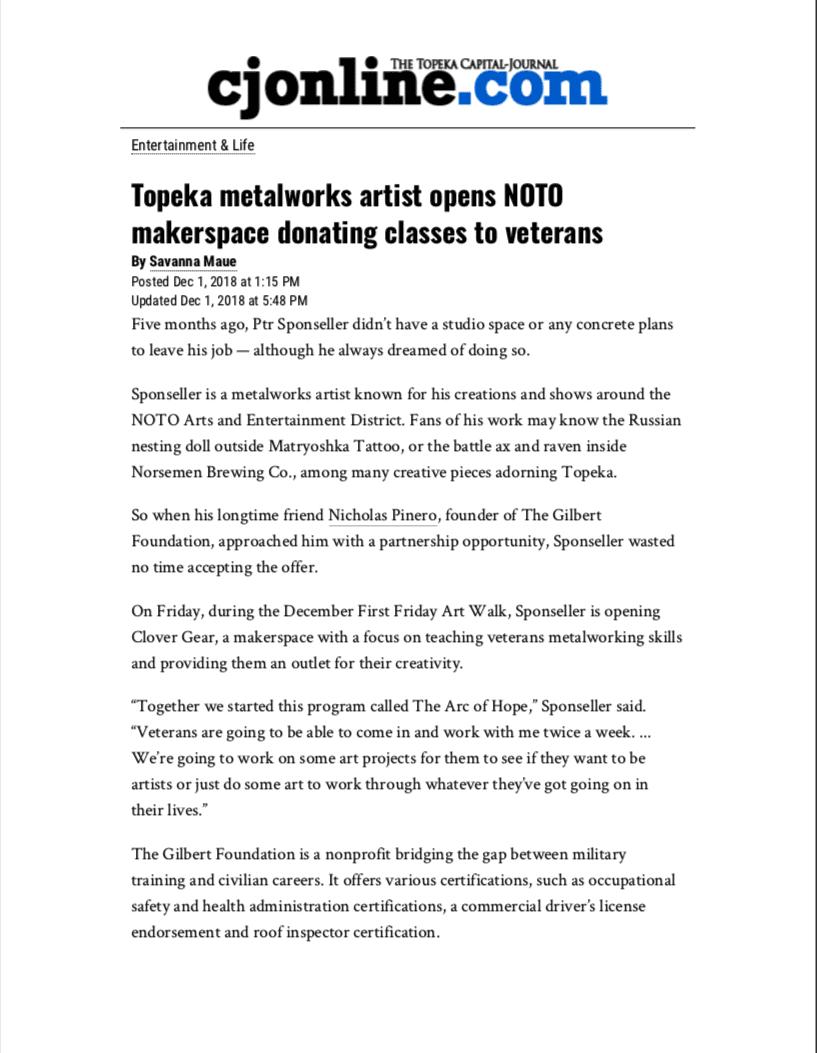 Topeka metalworks artist opens NOTO makerspace donating classes to veterans - Entertainment & Life - The Topeka Capital-Journal - Topeka, KS