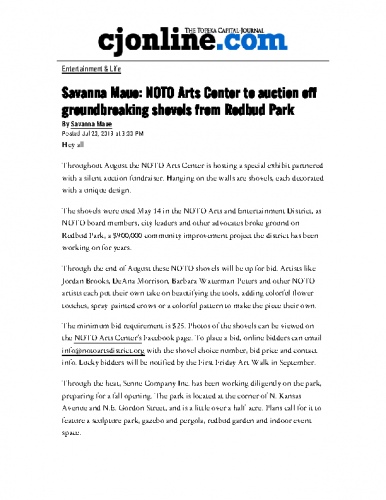 NOTO Arts Center to auction off groundbreaking shovels from Redbud Park